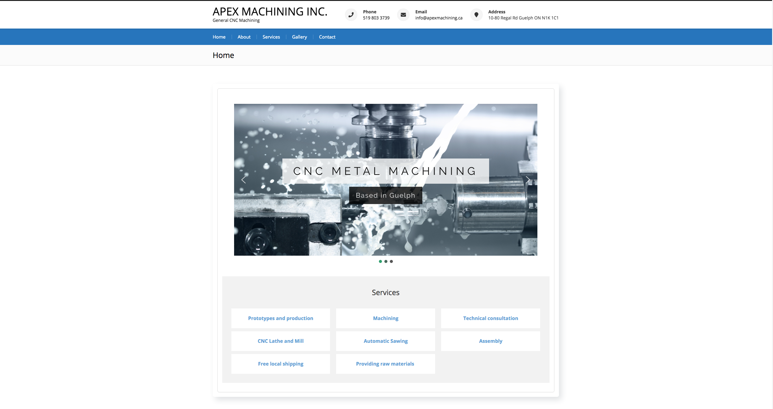 Apex Machining Inc website